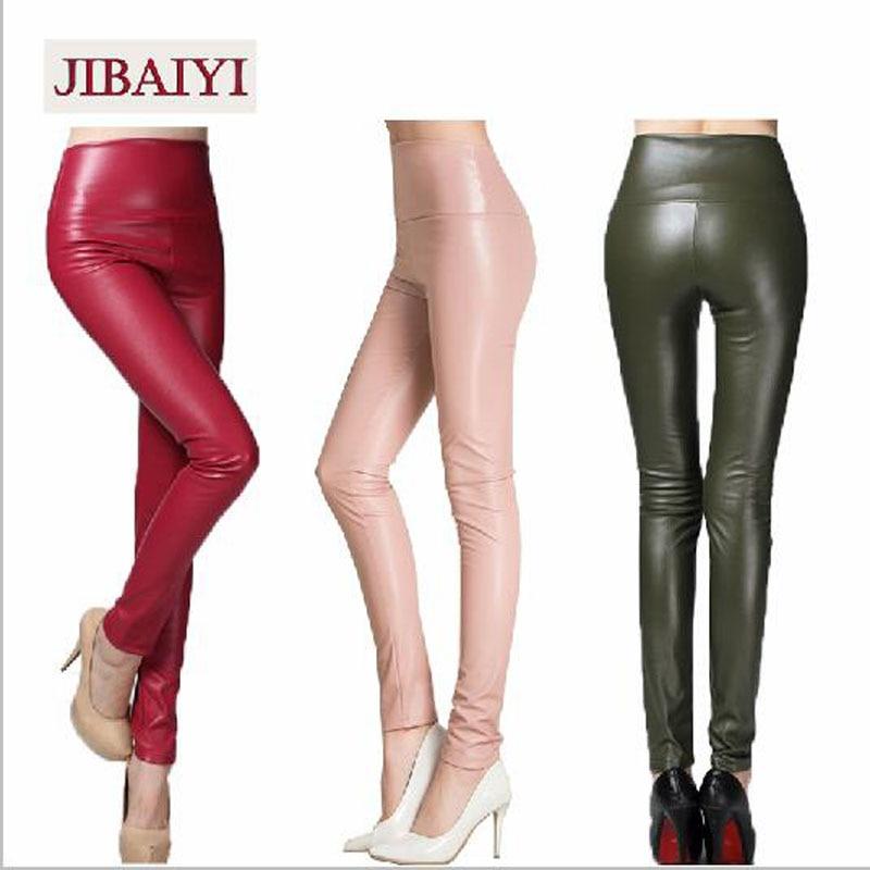 2018 Winter Skinny PU Leather Pencil   Leggings   Slim Shaper Pants Female Fashion Thick High Waist Trousers Women Bottom Clothing