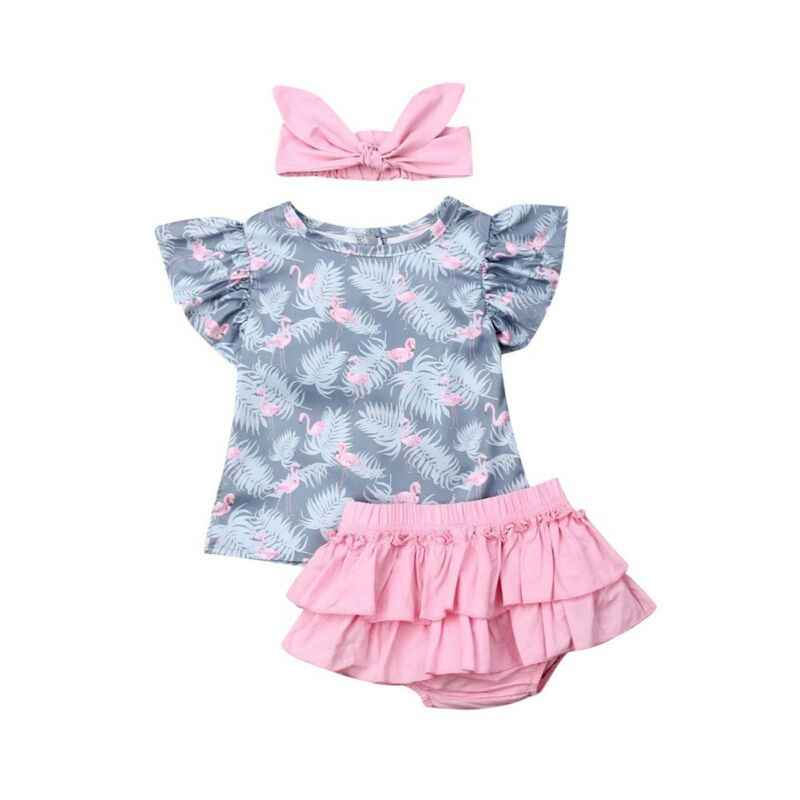 Boutique Kid Clothes 3pcs Flamingo Print  Outfit Baby Girls Shirt Top+Ruffles Shorts Headband Newborn Outfit Set