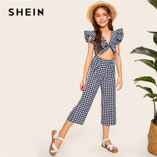 SHEIN Kiddie Girls V Neck Navy Gingham Ruffle Armhole Knot Cutout Front Jumpsuit 2019 Summer Cap Sleeve Boho Beach Jumpsuits(China)