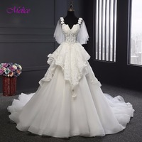 Melice Designer Sweetheart Neck Appliques Pearls A Line Wedding Dress 2018 Gorgeous Lace Bridal Dress Robe
