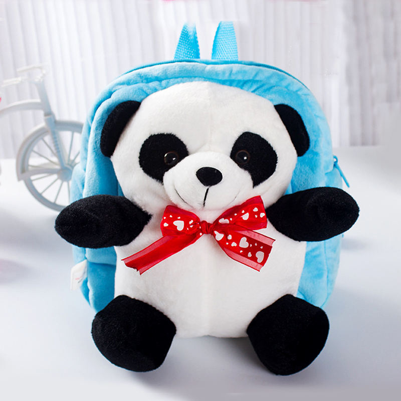 Kids Cute Tie Panda Plush Backpacks Cloth Cartoon Diagonal Children Bag Dolls Baby Toys Packing Picnic Food Storage Box MR212