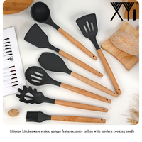 XYj New Kitchen Utensils Set Silicone Cooking Utensils Natural Acacia Hard Wood Handle Black Kitchen Knife Holder Block Stand