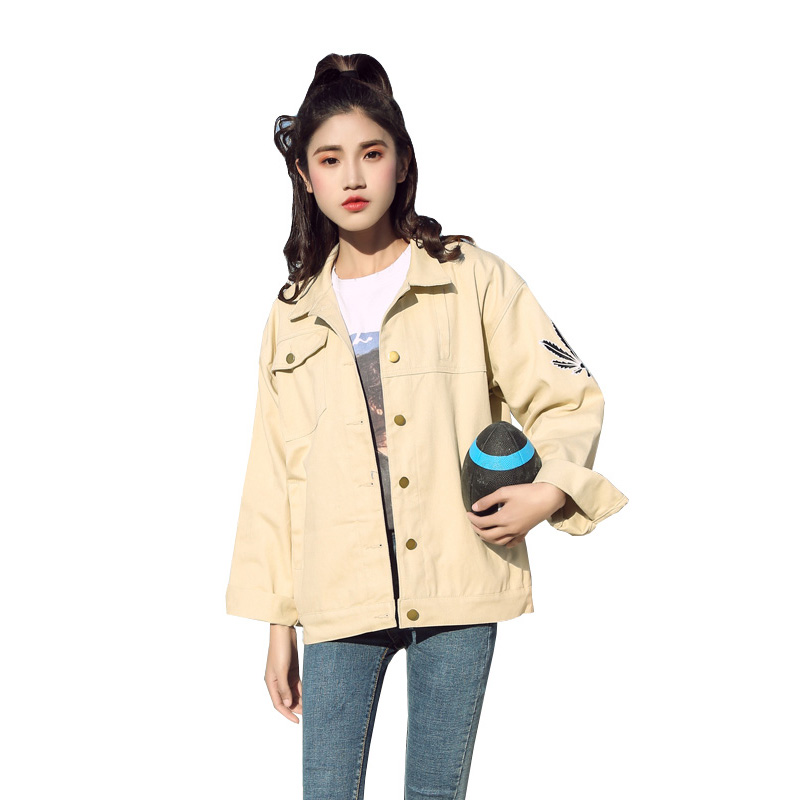 2019 New Harajuku Style Print Denim   Jacket   Fashion Loose Jean   Jacket   Women Casual Spring   Basic     Jackets   Chaqueta Femenina