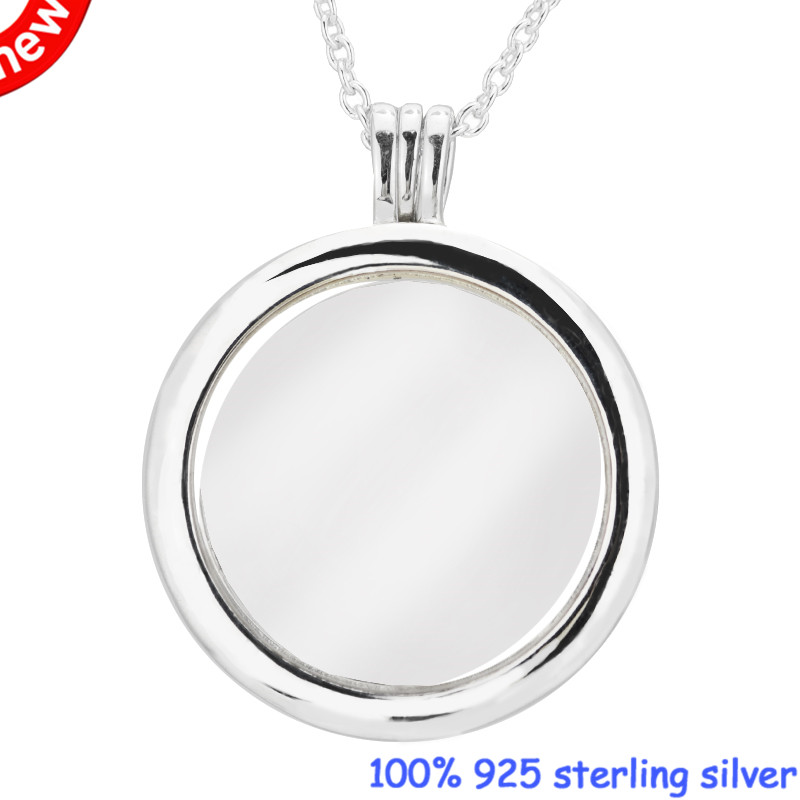 Pendant necklaces & pendants Large Floating Locket Necklace 925 STERLING SILVER JEWELRY choker Valentine gift pandulaso heart floating locket necklace pendants with petites sngel star angel wing woman choker original 925 silver necklaces