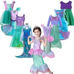 Платье принцессы «Русалочка Ариэль» для девочек; маскарадные костюмы для детей; комплекты одежды «Русалочка» для маленьких девочек; детска...