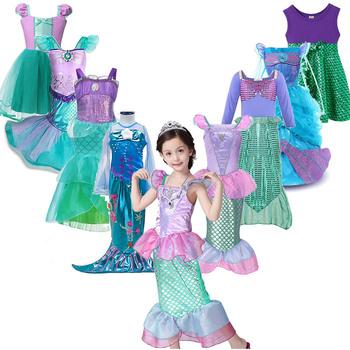 Dziewczyny mała syrenka sukienka księżniczki Ariel Cosplay kostiumy dla dzieci dziewczynka sukienka syrenka Up zestawy dzieci Halloween odzież tanie i dobre opinie Disney 25-36m 4-6y 7-12y CN (pochodzenie) Lato COTTON Kostek Dobrze pasuje do rozmiaru wybierz swój normalny rozmiar ZT11