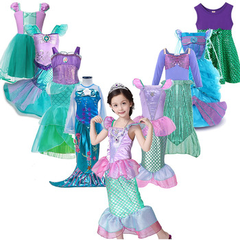 Girls Little Mermaid Ariel Princess Dress Cosplay Costumes For Kids Baby Girl Up Sets Children Halloween Clothing