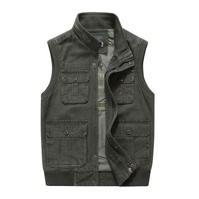 Plus Size 6XL 7XL 8XL AFS JEEP Brand Mens Vests Sleeveless Jacket Cotton Casual Multi Pocket Vest Men Waistcoat Coat
