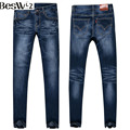 Beswlz Men Ripped Slim Pencil Jeans Pants Classical Men Fashion Casual High Waist Denim Jeans Men Straight Skinny Blue Jeans 520