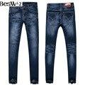 Beswlz homens rasgado calça jeans lápis finos calças homens moda clássica Casual Cintura Alta Jeans calças de Brim Dos Homens Em Linha Reta Jeans Skinny Azul 520