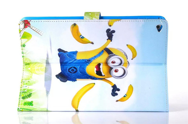 Newest Precious Milk Dad case cover for apple ipad 6 Despicable me for ipad Air 2 Retina case Minion Cartoon Leather Cover