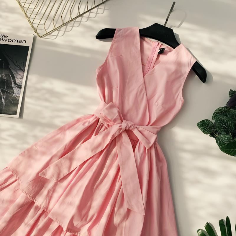 Korean Vintage Pure V Collar Sleeveless High Waist Bow Tie Double Ruffle Holiday Dress Women Vestidos E348 82