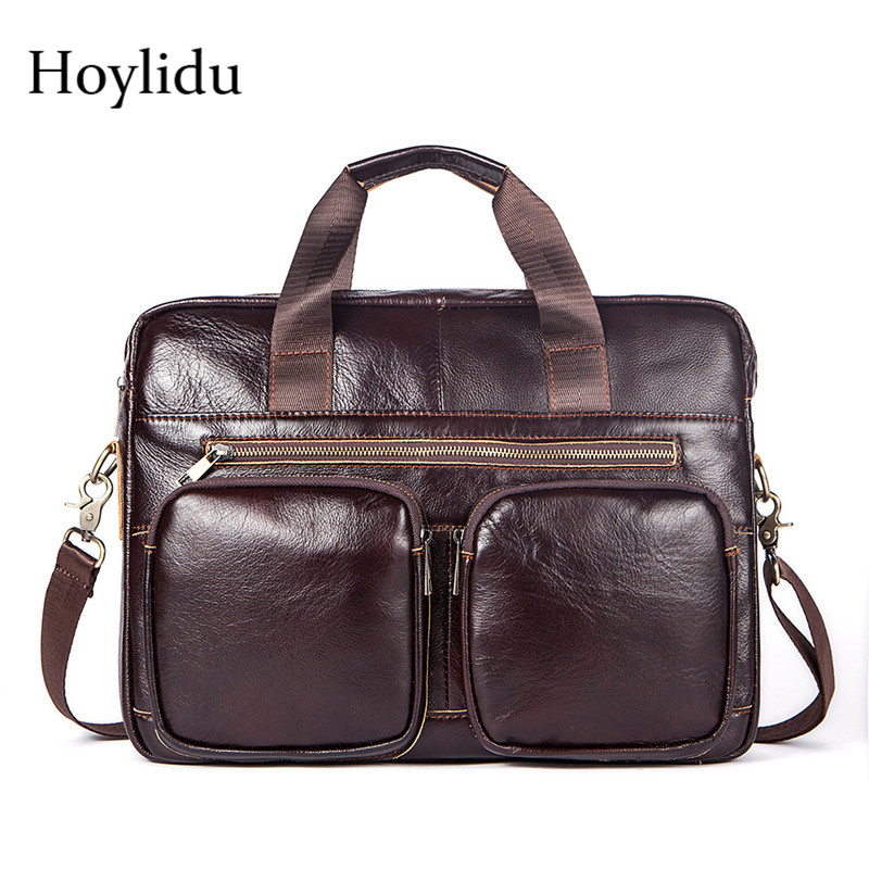 Genuine Leather Mens Business Briefcase Vintage Casual Zipper Bag Large Capacity Travel Handbag Laptop Shoulder Messenger BagsGenuine Leather Mens Business Briefcase Vintage Casual Zipper Bag Large Capacity Travel Handbag Laptop Shoulder Messenger Bags