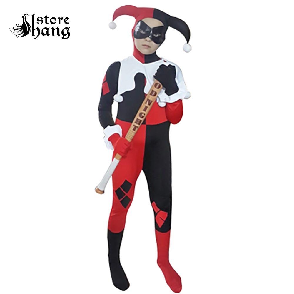 Kids Harley Quinn Costume Joker Girl Cosplay Full Bodysuit Arkham City Superhero Costumes Halloween Fancy Dress for Children