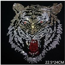 22,5*24 см голова тигра узор из страз Горячая фиксация стразы аппликация, горячая фиксация стразы мотив железо на передачи патчи