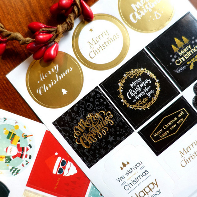 Christmas Sticker Labels 2 Sheets Adhesive Gift Tags Wrap Tags Labels For Holiday Presents, Scrapbooking, Birthday, Wedding