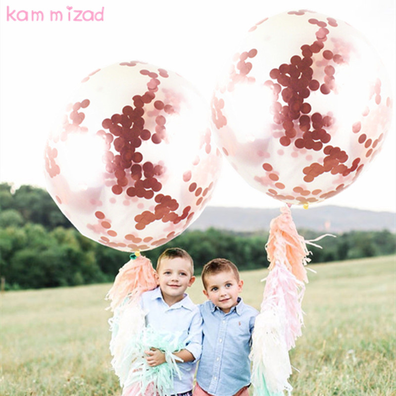 KAMMIZAD wedding decoration 36inch Rose Gold Confetti balloons globos ballon clear Birthday baloon baby shower party supplies ...