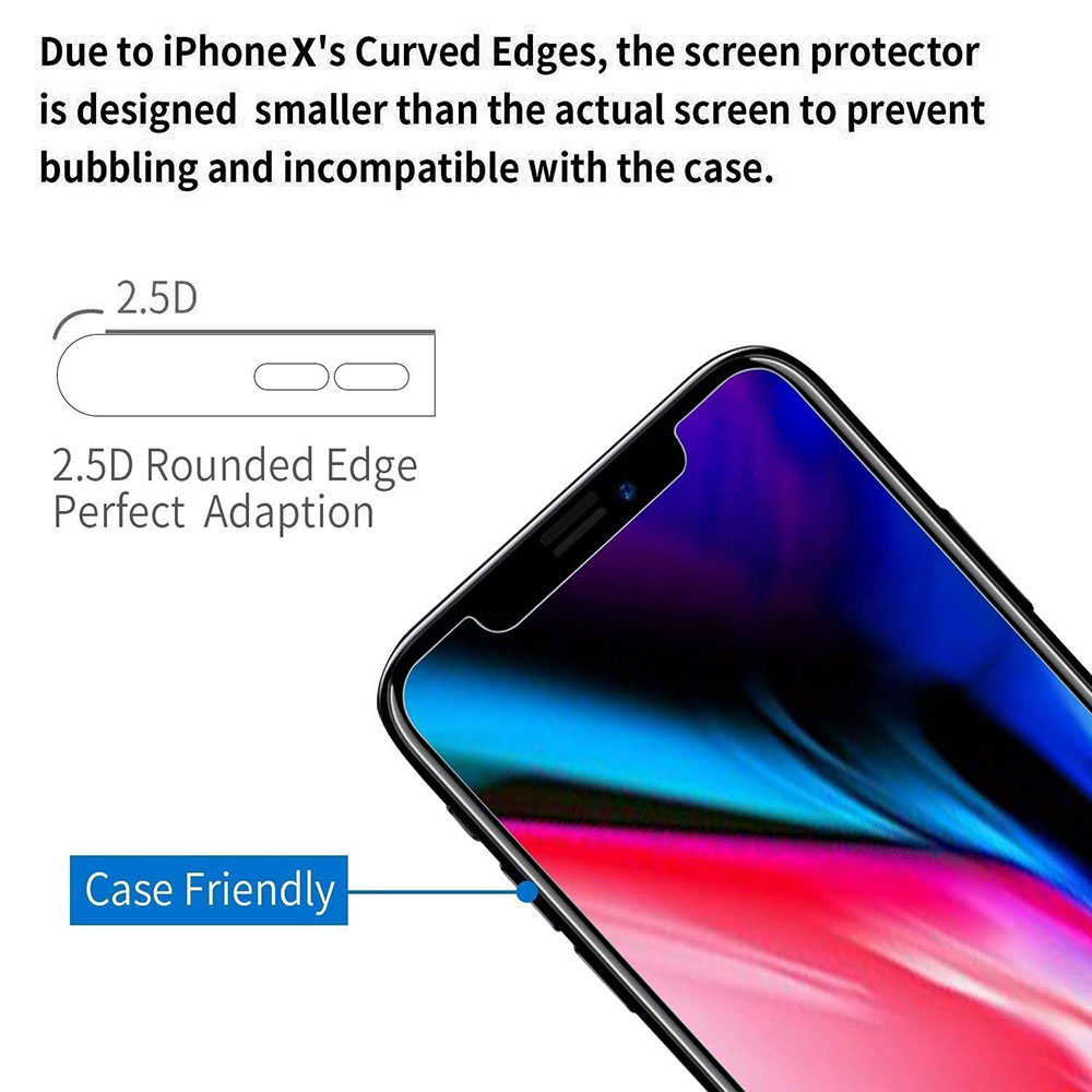 Ascromy For Apple iPhone XS Max Premium 9H Tempered Glass Screen Protector For iPhone X S XR 8 7 Plus 6 6S 8plus Protection Film (3)
