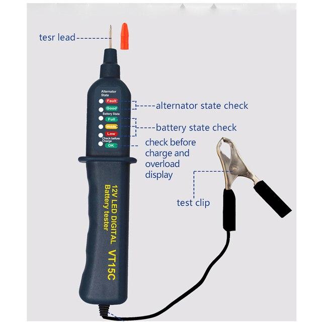 12V LED Digital Car Motor Battery Tester Pen Automotive 12 V Volt Batterie Analyzer Charging System Lead-Acid Auto Test Tool New