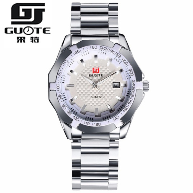 GUOTEยี่ห้อ2016แฟชั่นใหม่ธุรกิจนาฬิกาผู้ชายสแตนเลสแบบสบายๆนาฬิกาข้อมือหรูควอตซ์สง่างามนาฬิกาRelógio Masculino