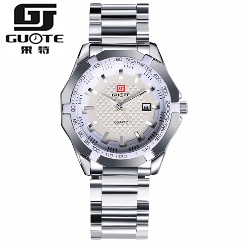 GUOTE Brand 2016 New Fashion Business Watch Men Stainless Steel Casual Quartz Wristwatch Luxury Elegant Clock Relogio Masculino guote hot gold full stainless steel wristwatch fashion casual quartz watches men luxury brand women dress watch relogio male