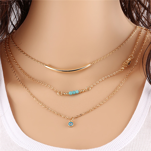 1 pz New Hot Unico Affascinante Gold Tone Bar Cerchio Lariat Collane Donne A Più