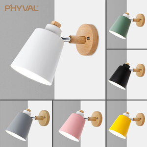 Image 1 - Lámpara de pared de madera para cabecera aplique de pared moderno para dormitorio, nórdico, macarrón, 6 colores, E27 85 285V