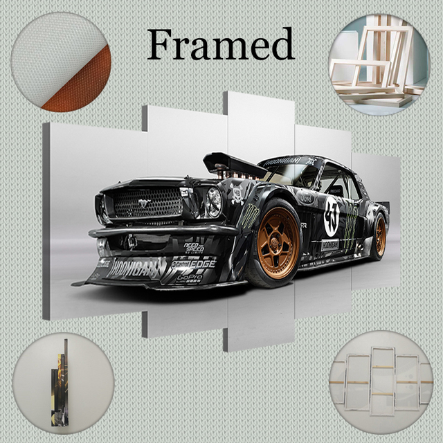 Yphyhd Modern Home 5 Piece Ford Mustang Rtr Car Canvas Art Print Poster Picture Frames Modular Paintings On The Wall