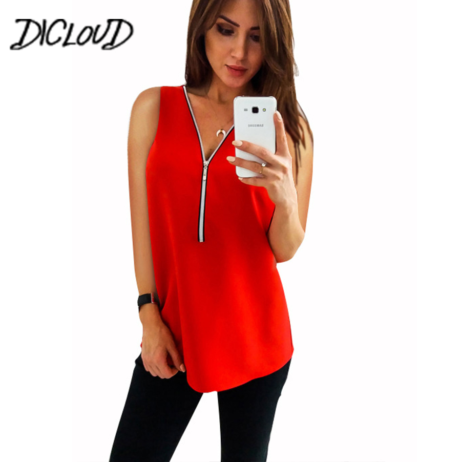 DICLOUD New V-Neck Chiffon Vest Top Women 2018 Simple Loose Sleeveless Summer Tops Female Solid Color Zipper Plus Size Shirt 3XL