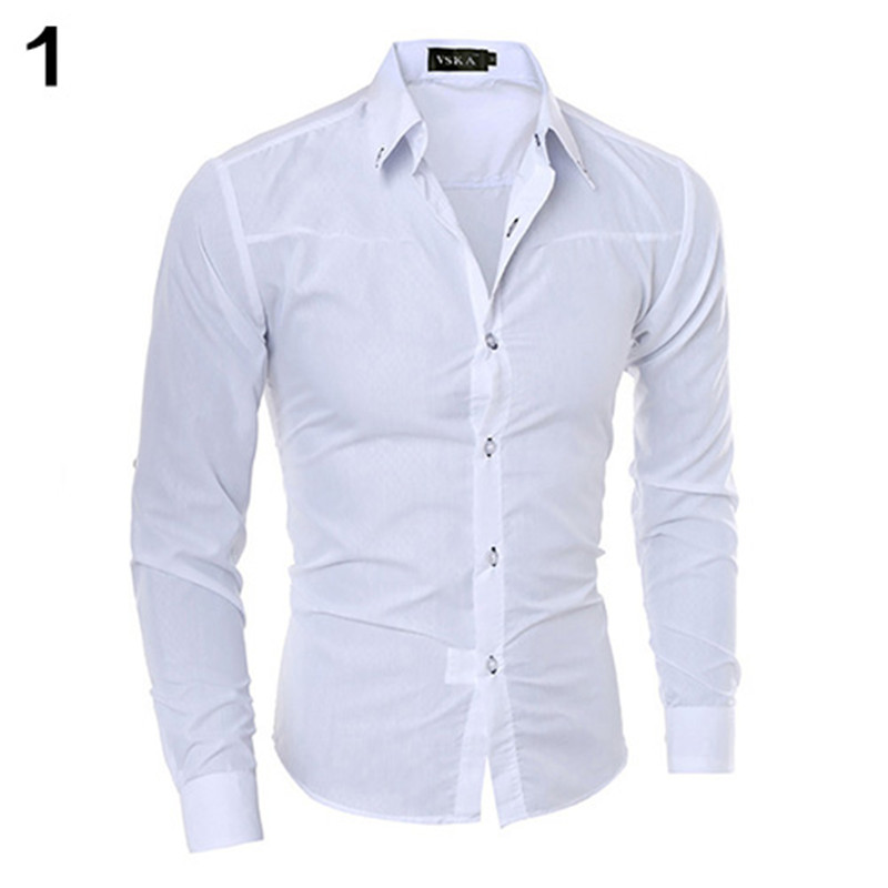 Men Fashion Dark Striped Business Slim Fit Long Sleeve Casual Dress Solid Color Shirt For Any Occasion For Men