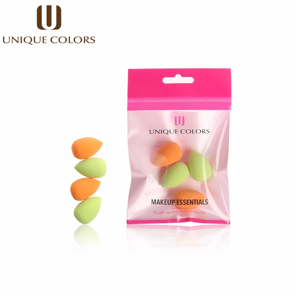 UNIQUE COLORS 4PCS Makeup Sponge Mini Waterdrop Foundation Base Liquid Powder Blending Mini Drop Shape Face Nose Cosmetic Tool