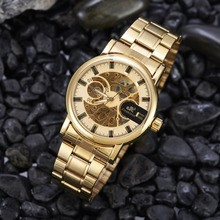 Ouro esqueleto Relógio Automático Masculino mecânica Mens Watch Negócios Relógios Top marca relógio de Pulso À Prova D' Água Relogio masculino 30 M