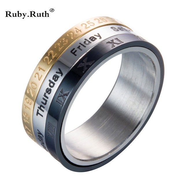Titanium Steel Tricolor Calendar Time Wedding Ring Mens Fashion Jewelry Band Gift To Turn The