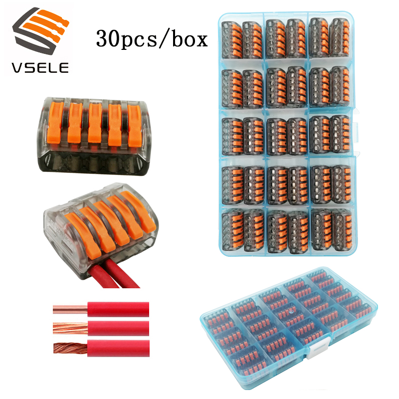 30pcs/box VSE 415C wire connectors for fine stranded and solid wires 5p plug type spring clamping mini 222 415 terminal block Connectors     - title=