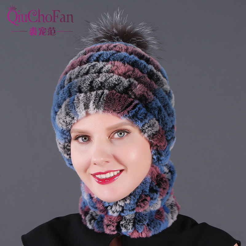 Newest Elastic Knitted Rex Rabbit Fur Beanies And Collars With Fox Pomom Genuine Fur Winter Lady Cap Real Fur Hat & Scarf