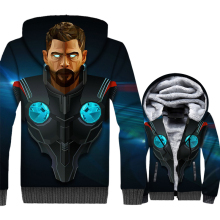 men 2018 winter sweatshirts thick warm wool liner brand tracksuits Thor Odinson 3D print hooded jackets Super hero hip-hop coats