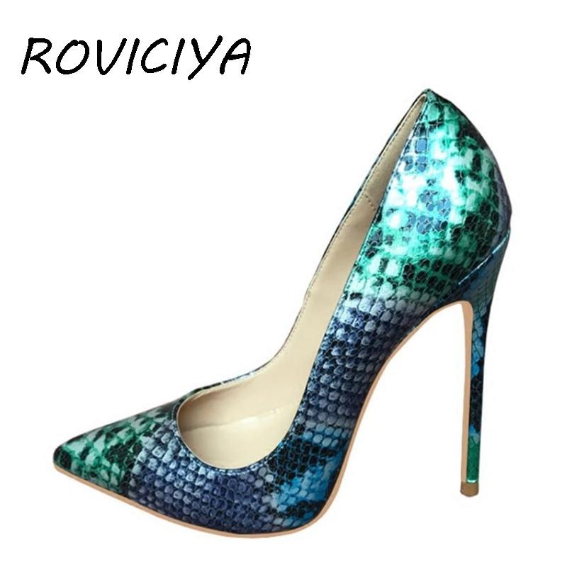 Coloré Hauts 12 Chaussures Roviciya Pompes Qp050 Heel Party Heel Dames 12cm Pointu Talons Bout 10cm Nu Prom Cm Designer Femmes 8cm Heel Sexy Serpent OFS5nzqx
