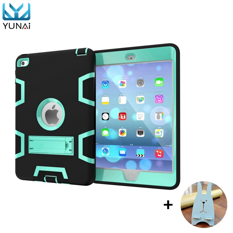 YUNAI For iPad 2 3 4 Case Kids Cover Heavy Duty Shockproof For Apple For iPad Cover Case Silicon 9.7inch Tablet Case+Holder case for ipad pro 12 9 case tablet cover shockproof heavy duty protect skin rubber hybrid cover for ipad pro 12 9 durable 2 in 1