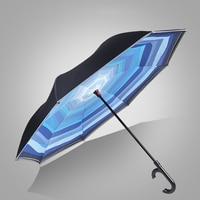 Inverted Car Umbrella Reverse Portable Double Layer Parasol Garden Raincoat Umbrella Rain Women Guarda Chuva Strong Sun 50KO019