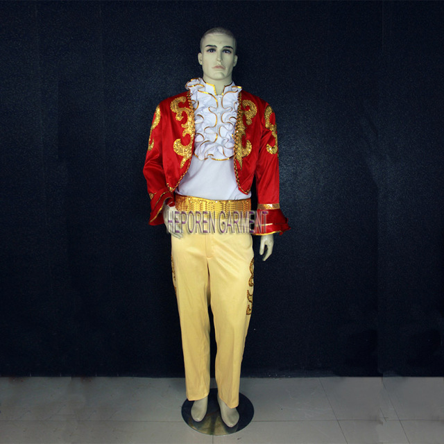 Customized Men Performer Long Sleeve Dancing Costume,Coat Shirt And Pants For Male Suits Dance Clothes For Stage Performance