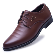 Mazefeng 2018 New Spring Autumn Men Dress Shoes Business Pointed Toe Leather Breathable Wedding Male Flats