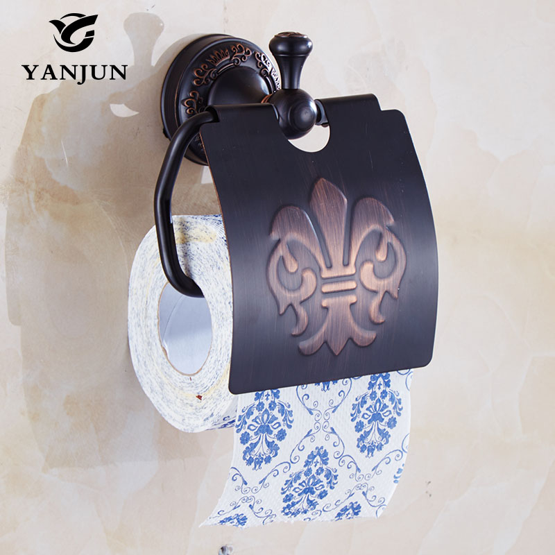 Yanjun True Quality Copper Toilet  Paper Roll Holder With  Flap  Wall Mounted Paper Towel Holder Bathroom Accessories YJ-7857 yanjun toilet anti drop paper jumbo roll holder wall mounted paper towel dispenser bathroom accessories yj 8607