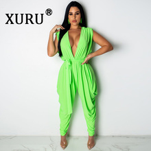 XURU summer new best womens solid color casual loose jumpsuit sleeveless green with belt