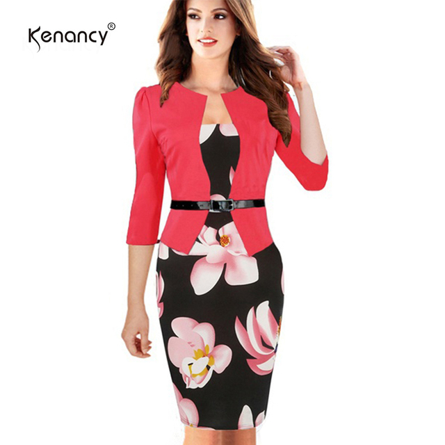6977d3f29a1 Kenancy 4XL Plus Size 3 Colors Belted Patchwork Floral Print Elegant Party  Dress Women Office Pencil Bodycon Vestidos One Piece