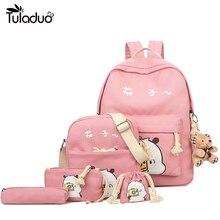 Модная одежда для девочек подростков холст рюкзак ранцы школьная Повседневная дорожные сумки рюкзак милые печати детей