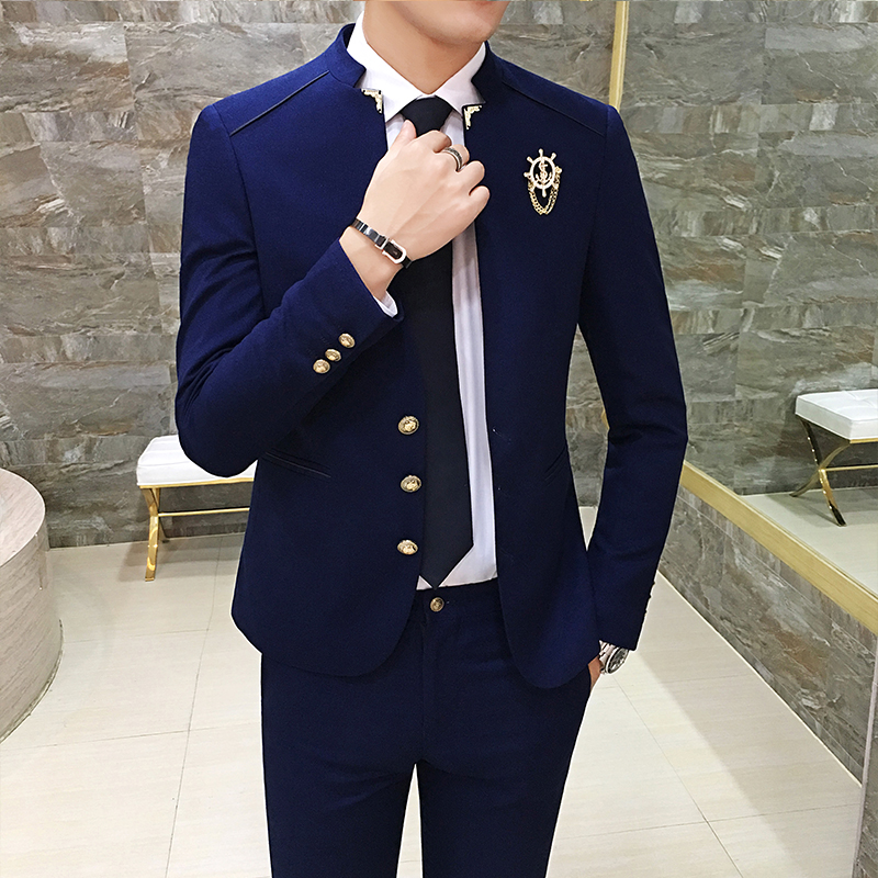 2019 New Korean Version Of The Tide Male Casual Stand Collar Small Blazer British Chinese Wind Suit Fashion Men's Wear-free Jack