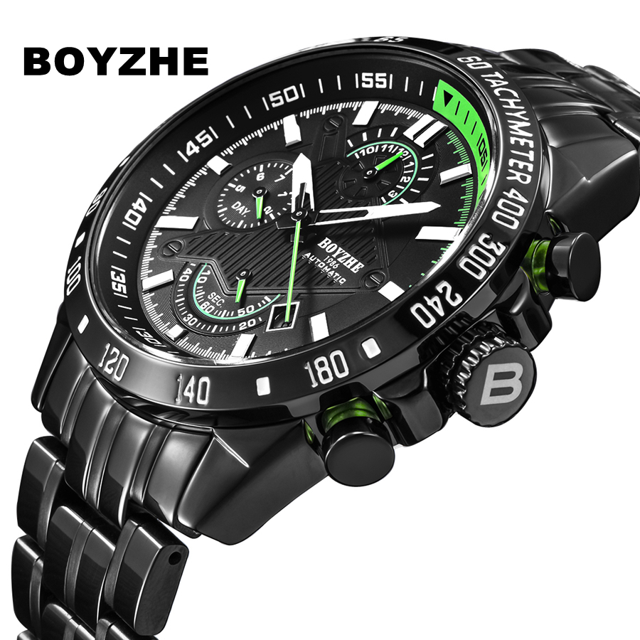 Watch Men BOYZHE Top Luxury Brand Mechanical Watches Multifunction Stainless steel Waterproof Male Wrist Watch WL010 цена 2017