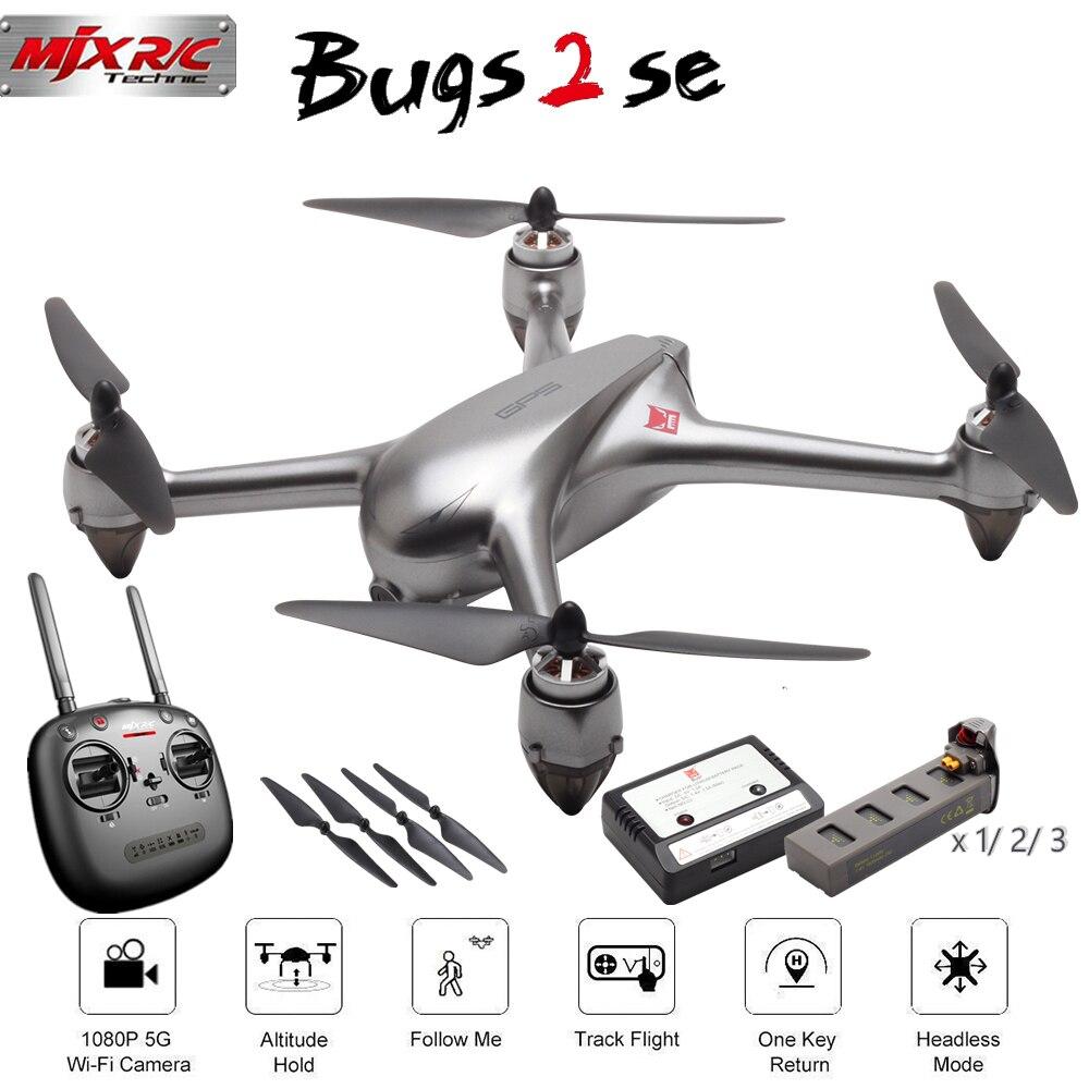 Oyuncaklar ve Hobi Ürünleri'ten RC Helikopterler'de MJX B2SE 5G RC dört pervaneli helikopter WiFi FPV 1080P Kamera GPS Konumlandırma Fırçasız Irtifa Tutun RC Drone RTF Takip Bir anahtar 3 Piller'da  Grup 1