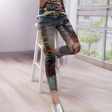 2017 New Hot Fashion Bronzing printed Boyfriend Skinny Women Mujer Ripped Jeans Female Pencil Pants Vintage Pantalones Vaqueros