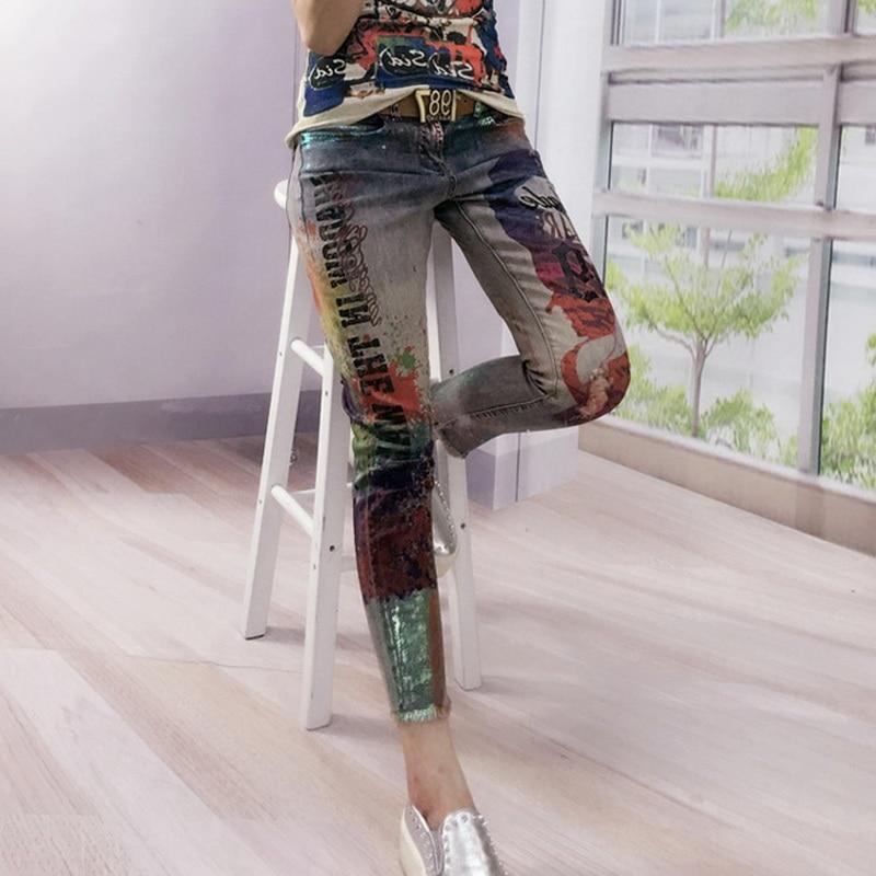 2018 Новинка; Лидер продаж модная bronzing печатных Boyfriend Skinny Женская обувь Рваные джинсы женский карандаш Брюки для девочек Винтаж Pantalones vaqueros